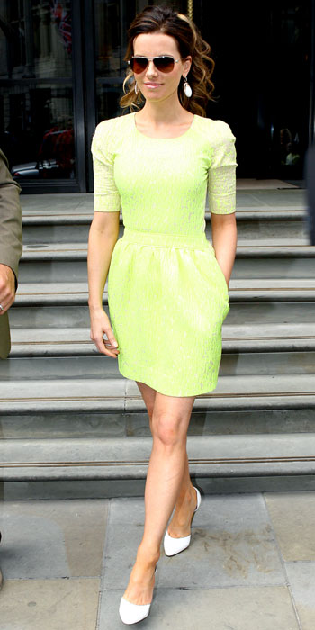 Kate Beckinsale in Neon Preen Dress